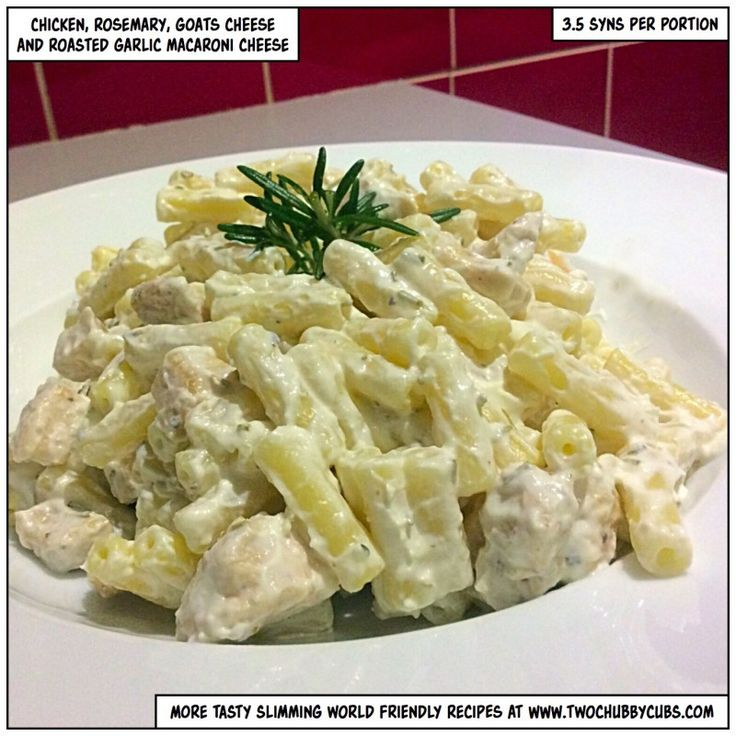 Slimming World recipe chicken rosemary, goats cheese and roasted garlic macaroni cheese