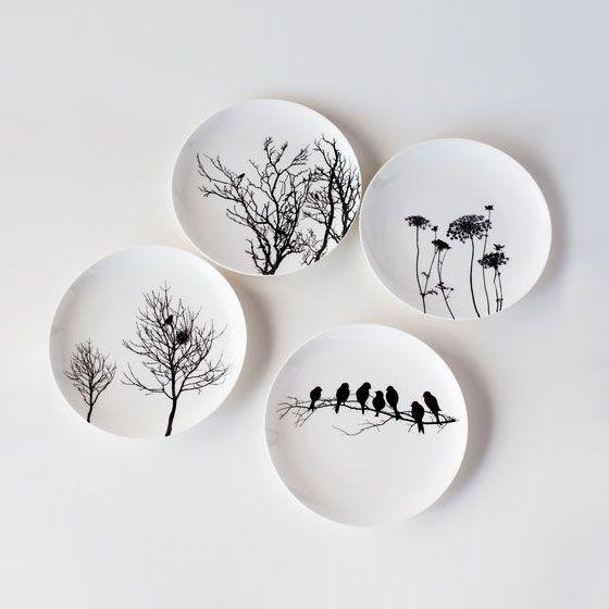 Naturescape Bone China Plates - Set of 4 | dotandbo.com