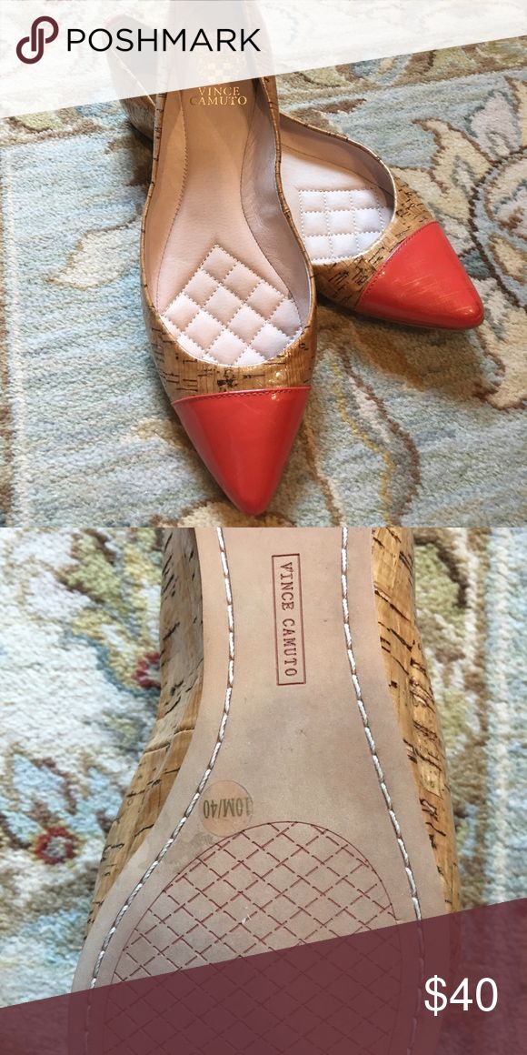 Cork and Coral Flats Vince Camuto Like new! Patent cork and coral toe. Very clean inside and no worn scuffs Vince Camuto Shoes Flats & Loafers