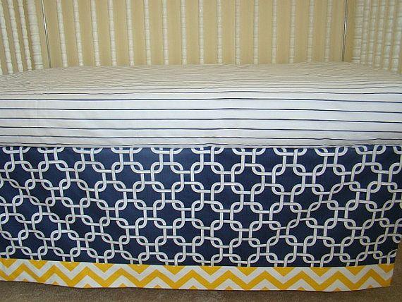 bumperless crib bedding baby bedding navy blue and yellow