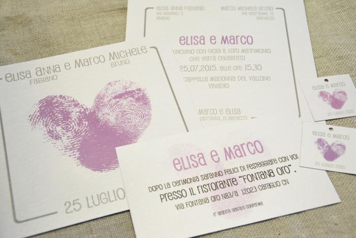 Partecipazione originale, con impronte digitali degli sposi - Partecipazioni Inviti matrimonio SposinStyle