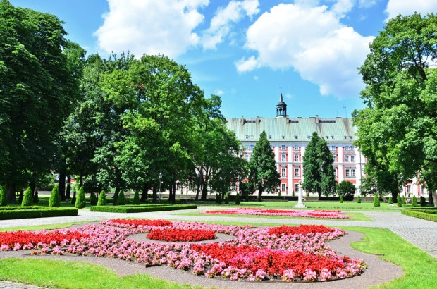 Poznan Poland, Chopin's Park with the City Hall behind