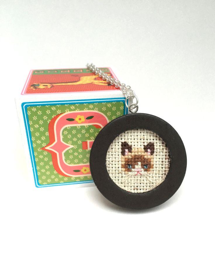 Grumpy Cat necklace Cross stitch necklace by otterlydesign on Etsy