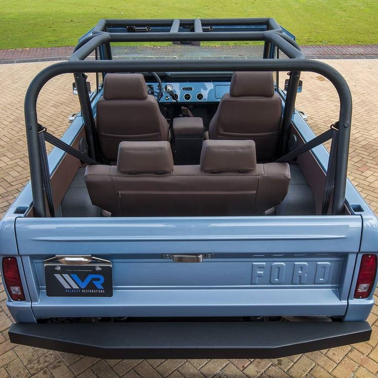 Back shot of the '74 Classic Ford Bronco interior and custom roll cage, only at Velocity. #velocityrestorations