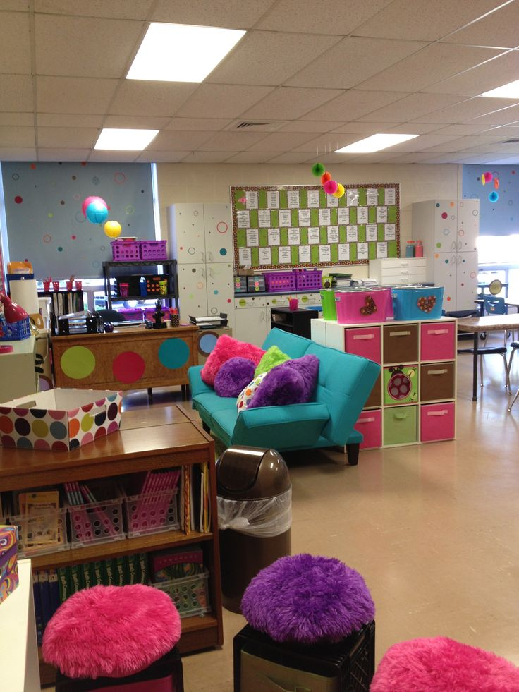 A fourth grade classroom. I love the seats with pillow top and storage underneath.  So many great ideas in the picture.  Sadly, no link to give more info.