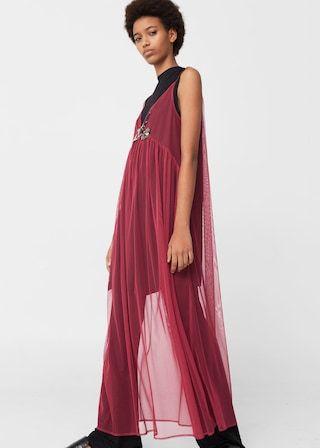 Платье из тюля с пайетками - Платья - Женская | MANGO МАНГО Армения