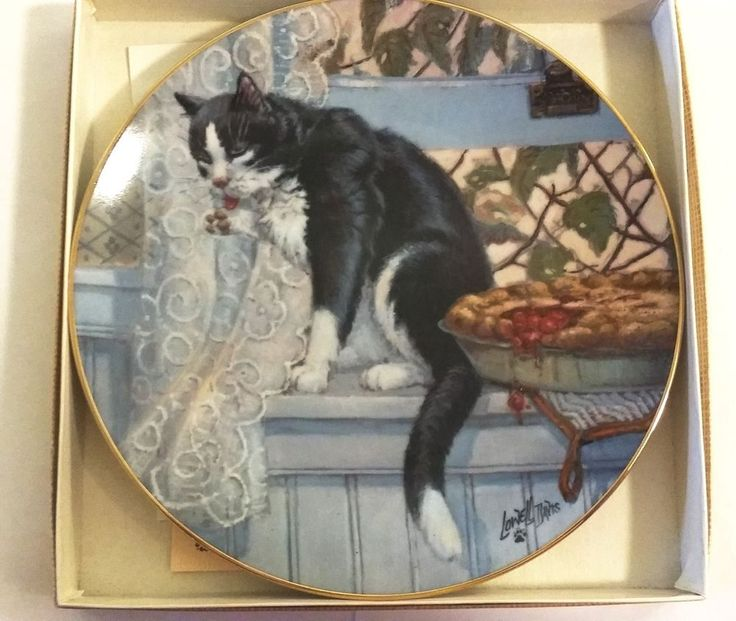 """1982 Lowell Davis """"Company's Coming"""" Cat Tales Series Schmid Plate In Box"""