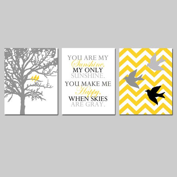 Yellow Gray Nursery Art  Bird Family Trio  Set of Three by Tessyla, $59.50