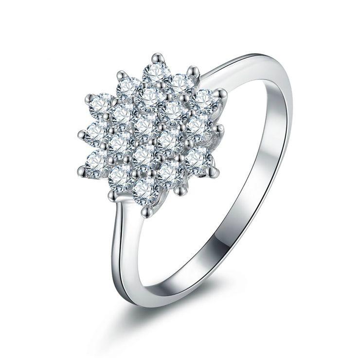 Fashion Women Birthday Gift Flower Pattern 925 Sterling Silver Statement Ring