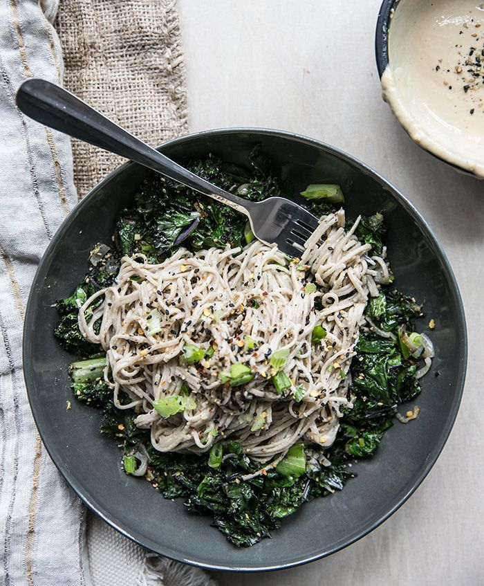 soba noodles + ginger tahini with crispy kale, shallots