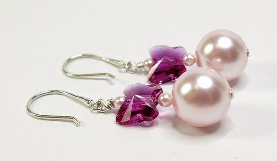 Swarovski Pearls & Butterfly Earrings