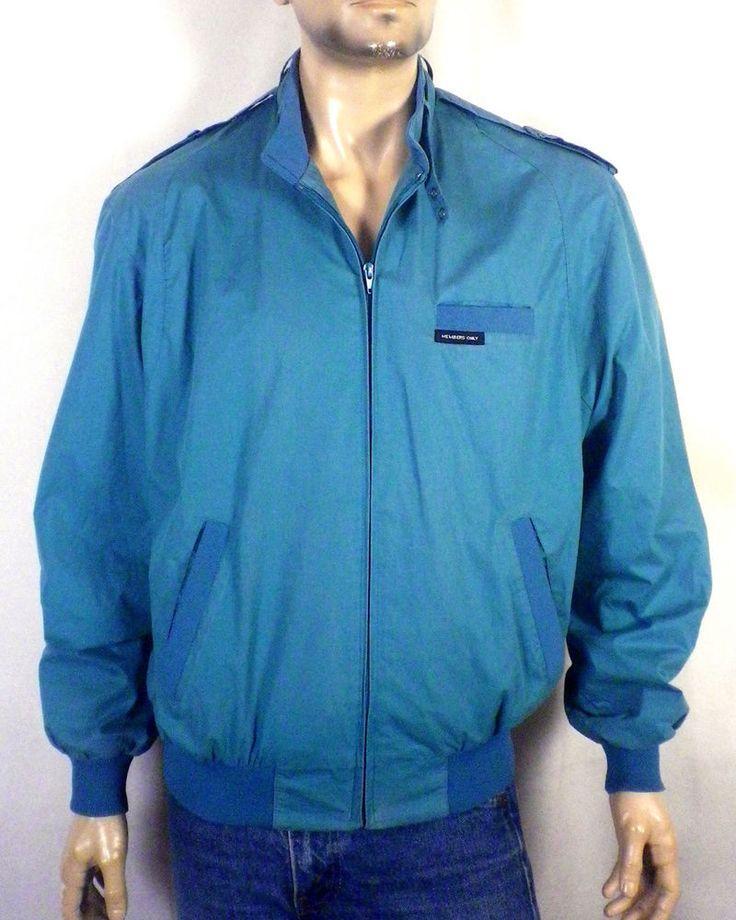 vtg 80s iconic Members Only faded teal/menthol Cafe Racer Jacket Biker 42 L