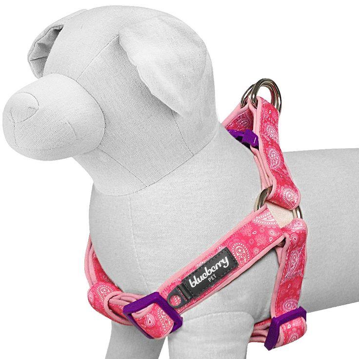 Pink Tone Paisley Print Neoprene Padded Dog Harness
