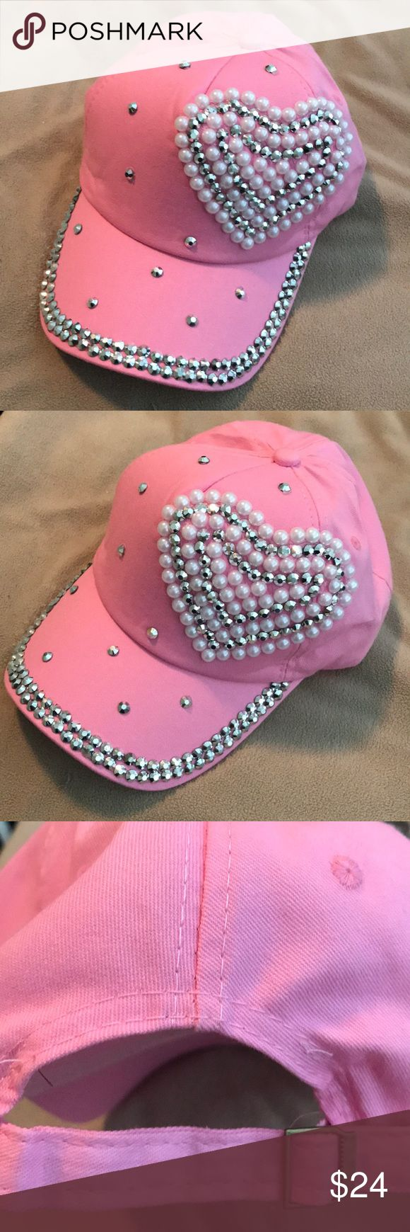 Pink Baseball Cap Studded Pearl & Crystal Heart Pink Twill baseball cap with crystal studs in two rows on the peak and a big crystal and pearl studded heart front left. Brand new! Accessories Hats