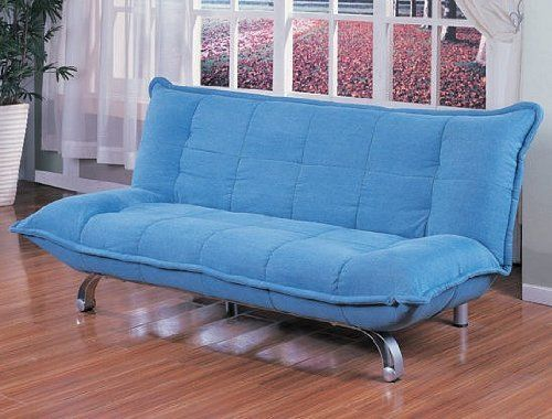 Light Blue Futon Pad With Silver Finish Metal Futon Frame