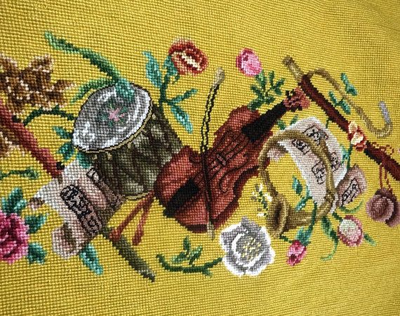Vintage Preworked Needlepoint Musical Canvas by VictorianWardrobe, $32.00