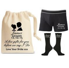 Personalised Groom Gift Set With Socks Underwear & Cotton Bag - Personalized Wedding Present - Gift for the Groom From the Bride - Quality