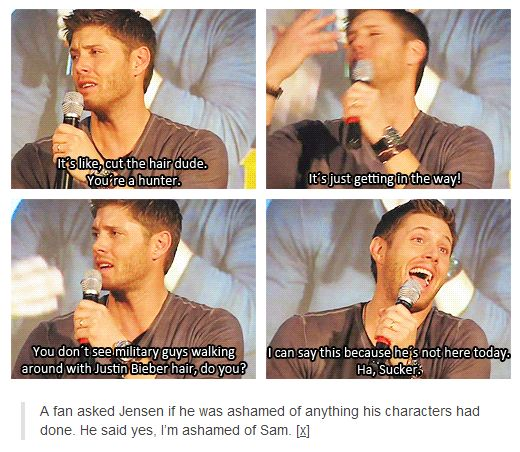 Jensen  on Jared's hair!