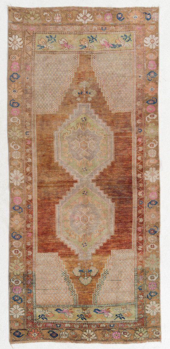 Brown And Taupe Antique Washed Rug 110x250 Cm Vintage Sun Faded Turkish