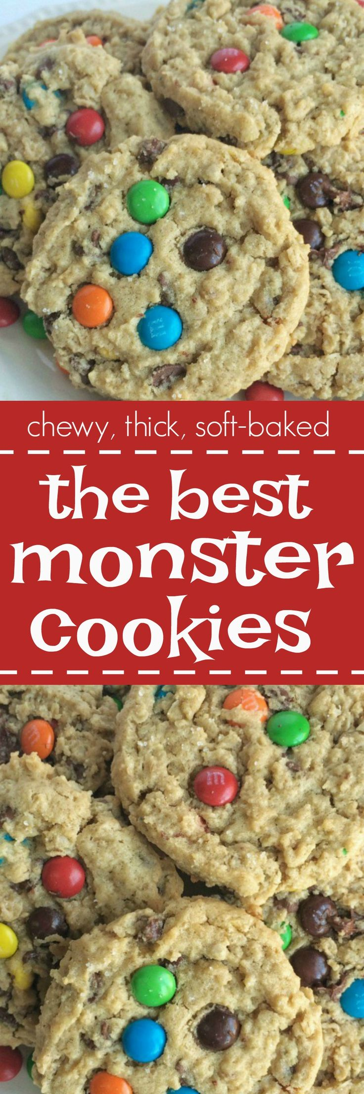 The best monster cookies are loaded with peanut butter, oats, chocolate chips, and m&m's! They are thick, chewy, and a soft-baked cookie, with a surprise ingredient, that are addictive and delicious.