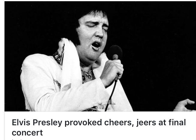 """Elvis Indianapolis, June 26, 1977...""""In a front-page report June 27 in The Star, reporter Dan Carpenter described the scene: """"Men in leisure suits, women with permanents & teens/sub-teens in dungarees descended 18,000 strong on Market Sq Arena last night, clutching tix purchased for up to $15 apiece —Many of them had waited overnight in freezing weather for the right to see the man who's remained a star for 24 yrs in a business whose practitioners seldom last longer than fruit flies."""""""