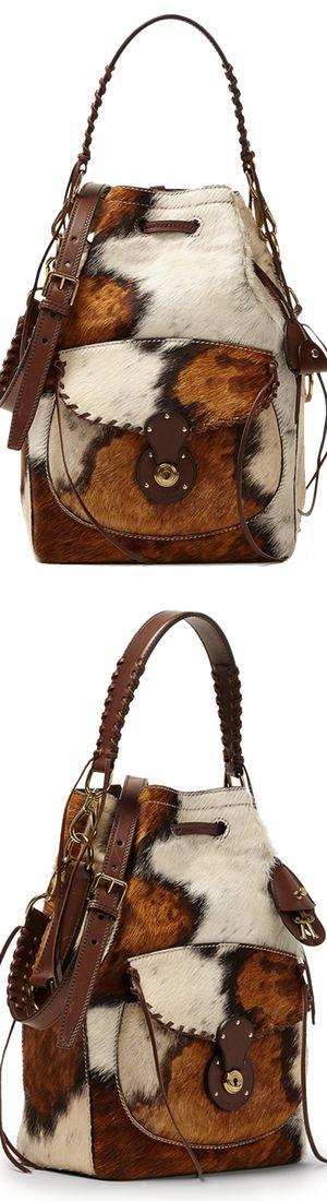 Ralph Lauren Haircalf Ricky Drawstring Bag Cream/Brown