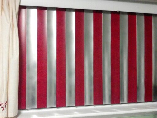 We Painted The Vertical Blinds Red And Silver To Match The