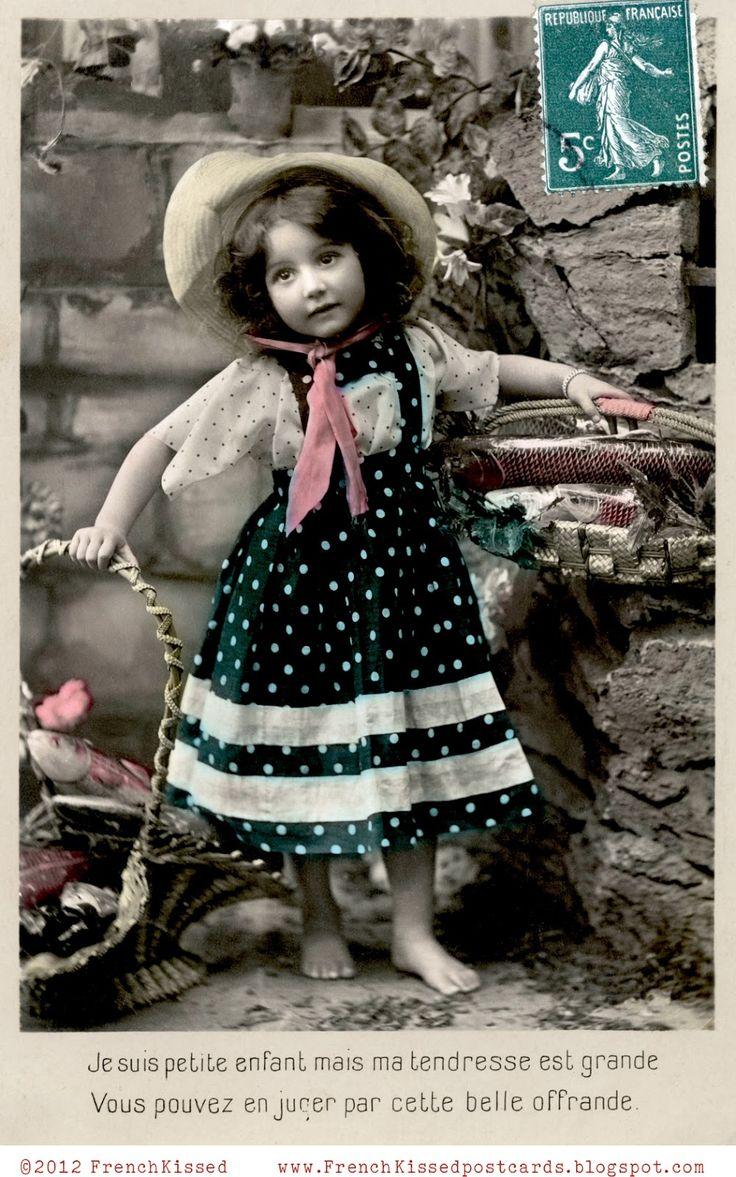 vintage girl in polka dots