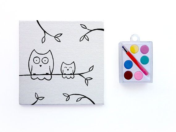 Owl Party Favors Watercolor Paint Set by heathercashart on Etsy