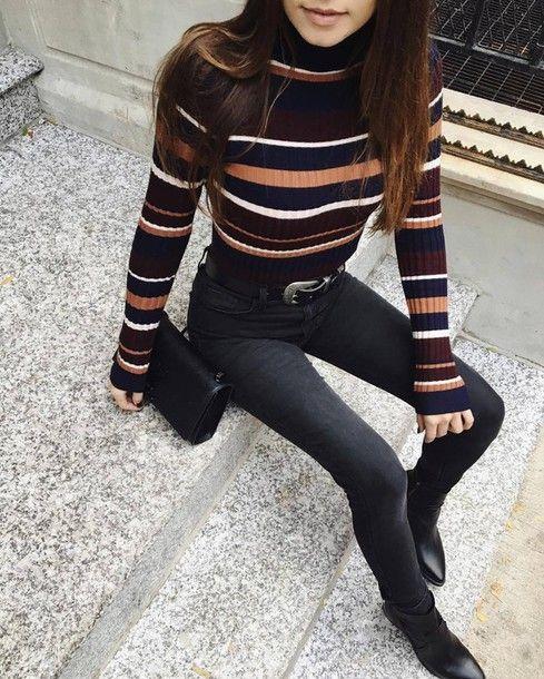 Sweater: tumblr striped stripes turtleneck turtleneck denim jeans black jeans skinny jeans bag black