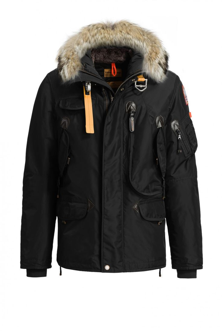 Nylon jacket with a detachable real fur trim around the hood and a  removable…