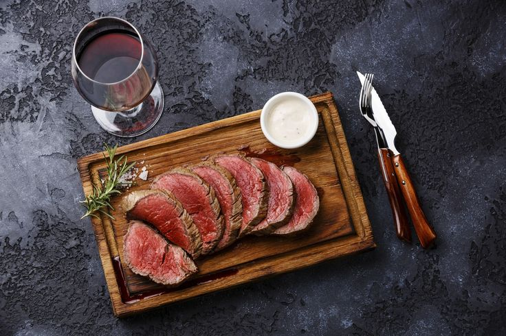 A delicious beef tenderloin roast, along with a wonderful red wine sauce. The Bordelaise-style sauce is made with red wine and beef broth.