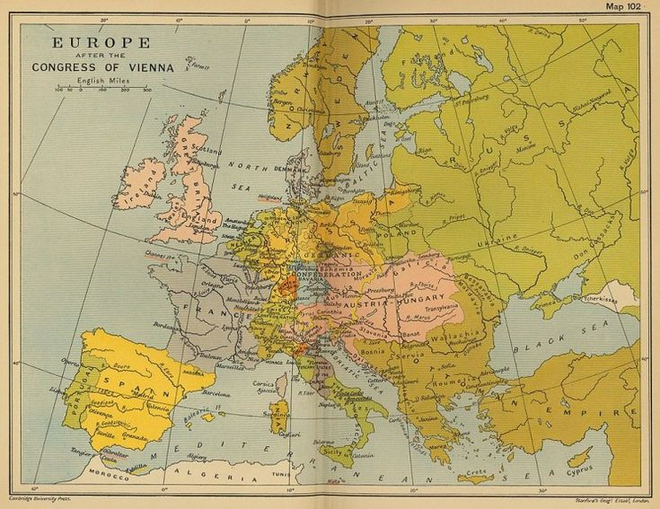 """The basic features of the reorganisation of Europe from Vienna would survive for more than five decades, until the German unification."" -- Randall Lesaffer, Editor of Oxford Historical Treaties (Europe after the Congress of Vienna. Public domain via Wikimedia Commons)"