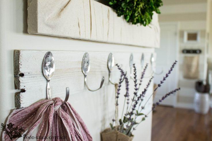 DIY Spoon & Pallet Hook Rack by The Wood Grain Cottage