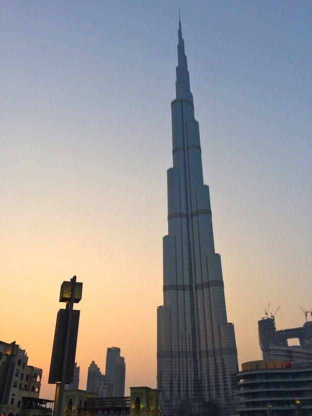 Burj Khalifa at sunset - Traveling to Dubai