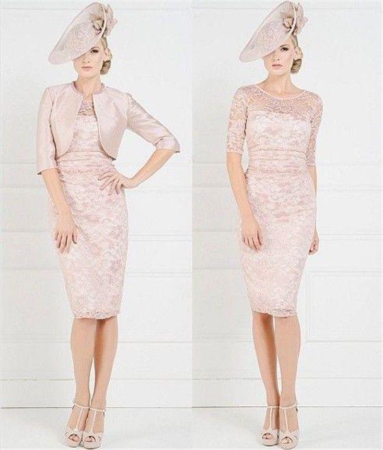 2014 Оболочка Розовый Колен 2014 Мать Невесты кружевное Платье С Бесплатным Куртка Жених Мать Платья Свадьба Порыв платья