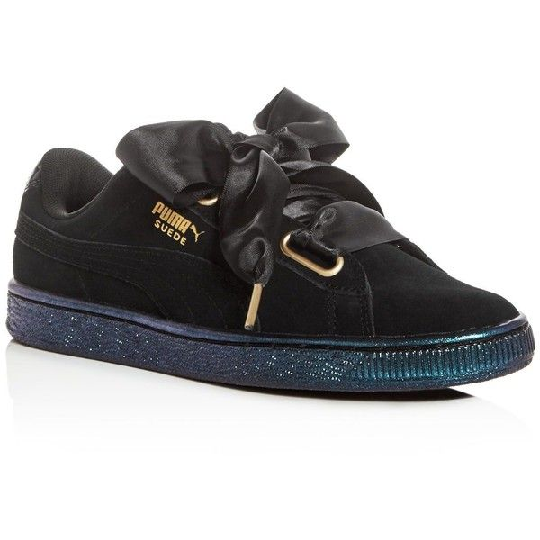 puma shoes suede black. puma women\u0027s heart satin bow lace up sneakers ($85) ❤ liked on polyvore featuring. sneakerssuede sneakersblack shoes suede black 0