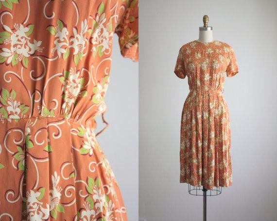 1940s ivy dress by 1919vintage on Etsy