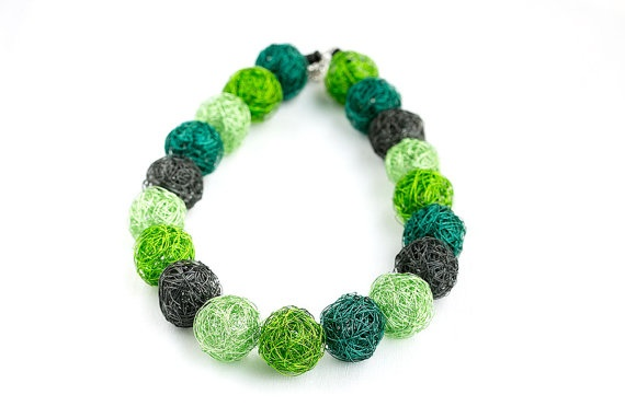 handmade wire beads necklace in green gray light green by goodrun, $65.00