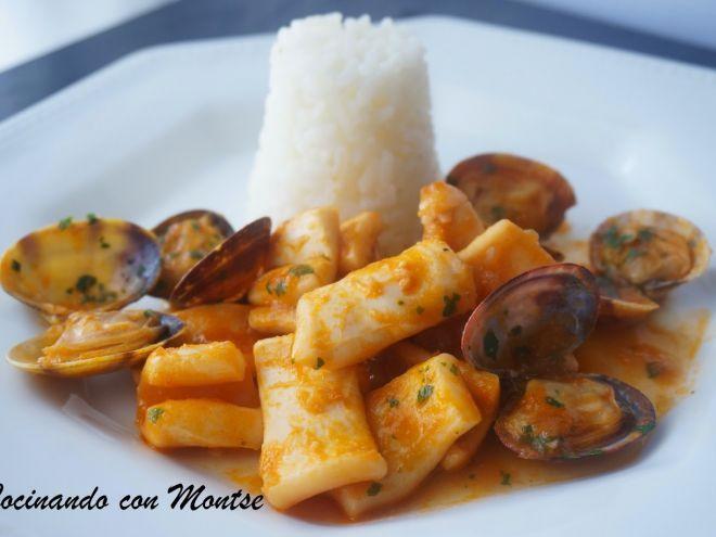 Receta Entrante : Calamares en salsa con almejas por MontseMorote