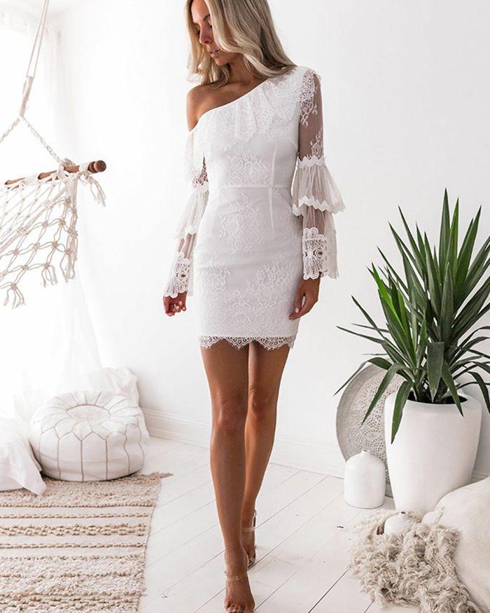 Vestido de baile apertado assimétrico de renda branca com mangas compridas HD3230   – Fashion … my love…
