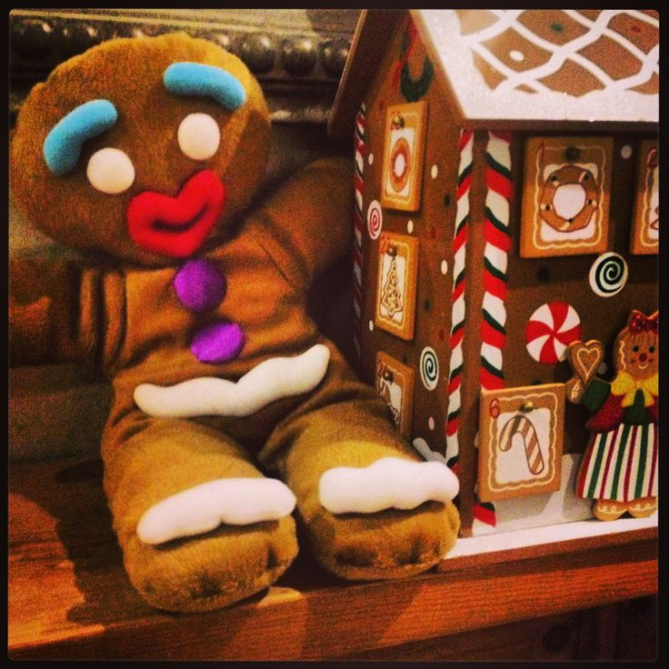 Shrek gingerbread man is protecting the advent calendar from sneaky fingers