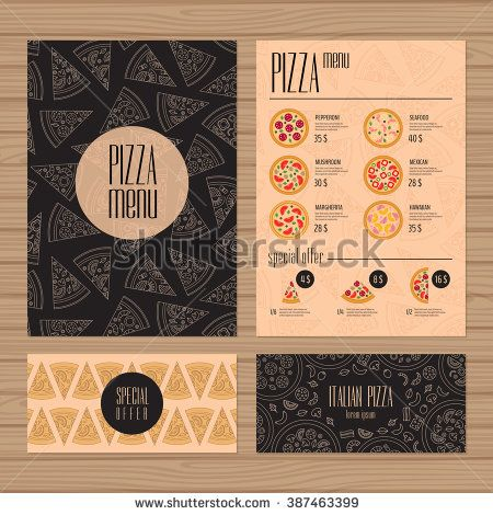 Pizza menu design. A4 size and flyer layout template. Restaurant brochure with modern line graphic. Front page and back page. Vector illustration.