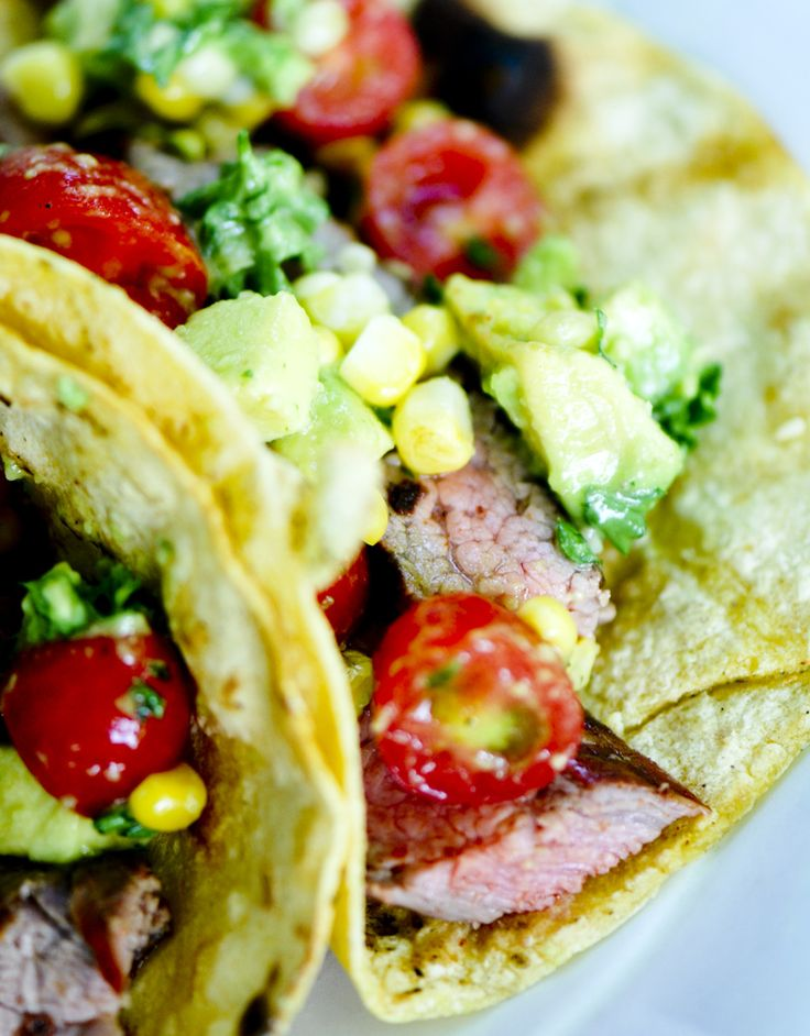 Steak Tacos with Corn, Avocado and Tomato Salad - Recipe Diaries