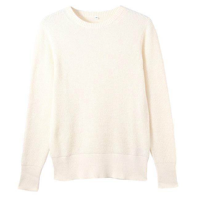 オーガニックコットンワッフル編みセーター
