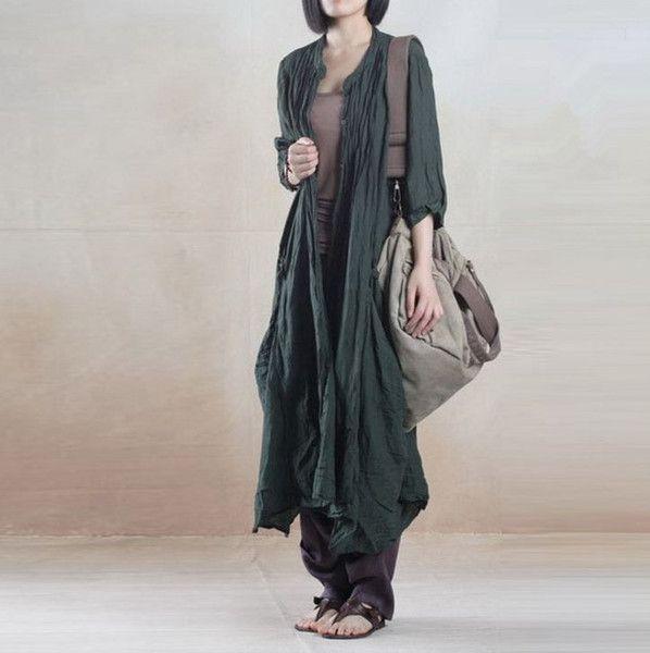 Women linen shirt dress green - Tkdress  - 1