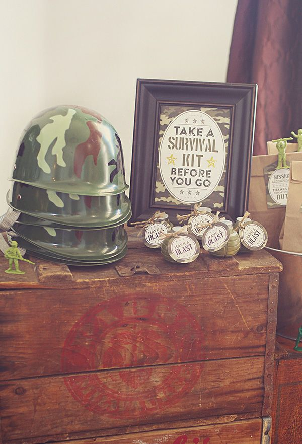 A Toy Soldier Camo Birthday Party with a Mess Hall, grenade cake pops, chocolate rock cake, outdoor supplies tent with + a water balloon grenade fight