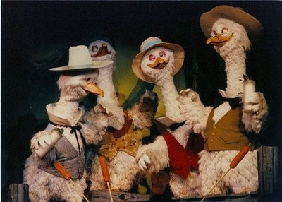 I sure miss this ride at Disneyland: America Sings! ...these 4 geese seemed to be singing under the influence...lol