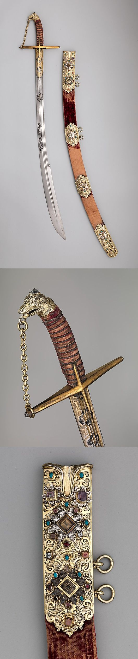 Saber with Scabbard and Carrying Belt Date: early 17th century Culture: Polish Medium: Steel, partly etched and gilt; gilt-silver, leather, wood, textile, semiprecious stones
