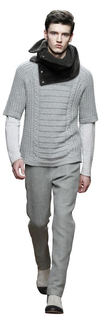 Yigal Azrouël fw11 - short sleeve knit sweater, long sleaved shirt, fur cowl, grey pants, black grey boots